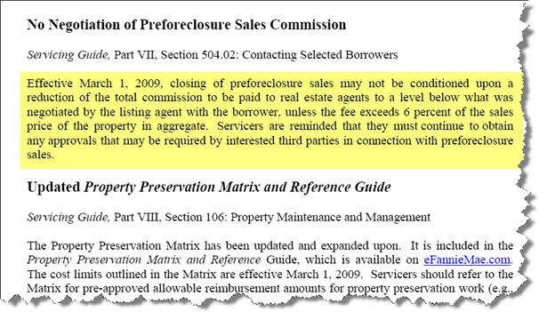 Fannie Mae new Commission guidelines