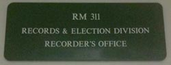 King County Recorder's Office Door Sign
