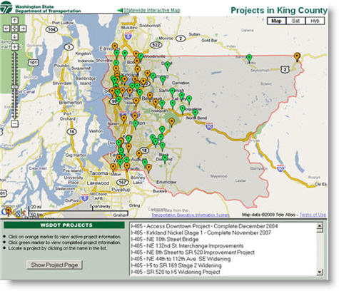 WSDOT King County Projects Map